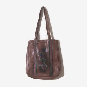 Vintage Brown Leather Tote
